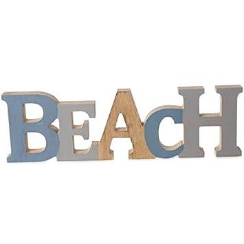 Mabjöt Schriftzug Aufsteller Beach, Bad Dekoration Aus Holz, Strand