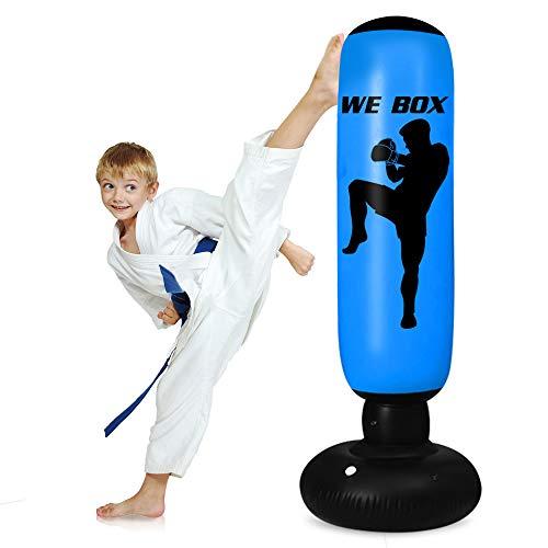 "Inflatable Punching Bag for Kids – Freestanding Punching Bag-63"" Punching Bag with Stand for Adults Karate,Taekwondo…"