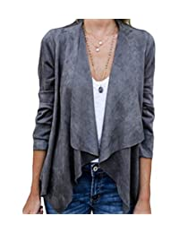 xiaohuoban Women's Cardigan Jacket Faux Suede Duster Short Jacket Biker Blazer