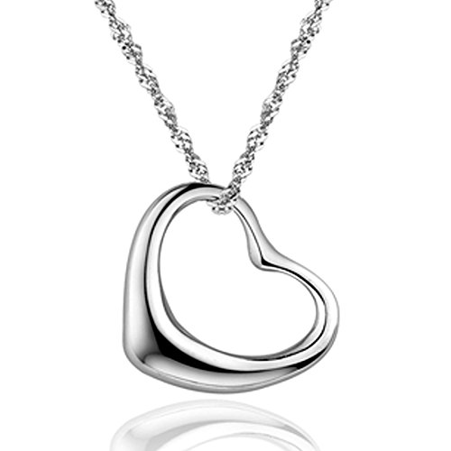 SWEETIE 8 ''Simple Heart'' White Gold Plated Silver Pendant Necklace 16'' for Women - Shiny Top Quality Jewelry for Party, Wedding or Casual Use - Great Gift for Girls or Lady| Gift Box Included by SWEETIE 8