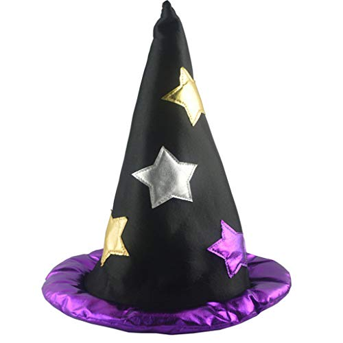 Witch Hat,Crytech Halloween Party Costume Cosplay Decorations Cap Star Print Birthday Wicked Witch Hat Holiday Festival Accessory Decor for Adult Women Men (Purple)