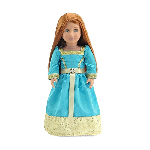18 Inch Doll Clothes | Gorgeous Merida-Inspired Princess Ball Gown Outfit with Glittery Accents and Silky Ribbon | Fits American Girl Dolls -