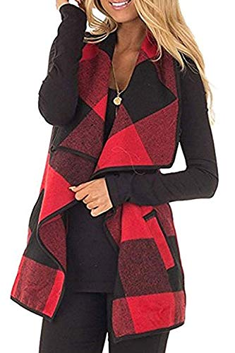 Fashion Womens Color Bolck Lapel Open Front Sleeveless Cardigan Shawl Vest Coat Red