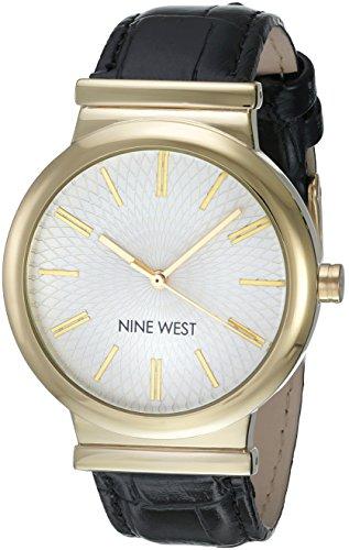Croco Grain Strap (Nine West Women's NW/1948WTBK Gold-Tone and Black Croco-Grain Strap Watch)