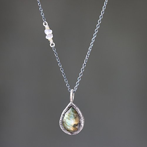 Teardrop faceted labradorite gemstone pendant necklace in silver bezel setting and labradorite beads on the side with sterling silver (Faceted Labradorite Pendant)