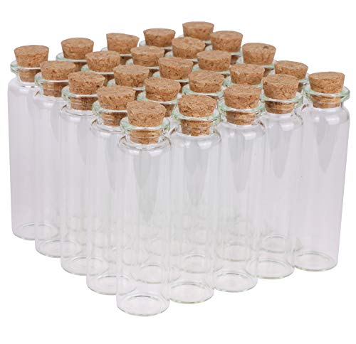 MAXMAU 100 Packs of Small Glass Bottles with Cork Stopper Tiny Clear Vials Storage Container for Art Crafts Projects Decoration Party Supplies 5ml/10ml/15ml/20ml (20ml - 100 Packs)
