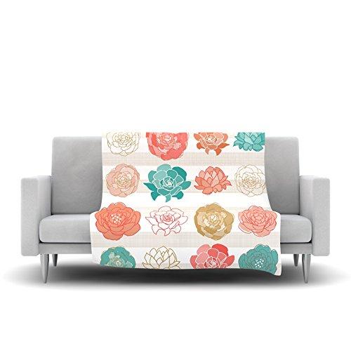 60 by 50 Kess InHouse Pellerina Design Flower Square Multicolor Floral Fleece Throw Blanket