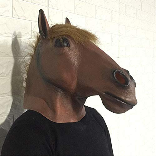 (QIAO Halloween Props Animal Mask Decoration Horse Head Mask Cosplay Party Tidy Latex Props Costume Ball Headgear (Color :)