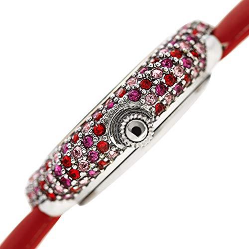 Burgi Swarovski Colored Crystal Watch - A Genuine Diamond Marker on a Slim Leather Strap Elegant Women's Wristwatch - Mothers Day Gift - BUR227