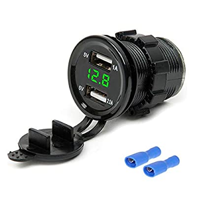 Mintata2020 12/24V Dual USB Port Car Auto Charger Socket Plug LED Voltmeter Waterproof Motorcycle Cigarette Lighter: MP3 Players & Accessories