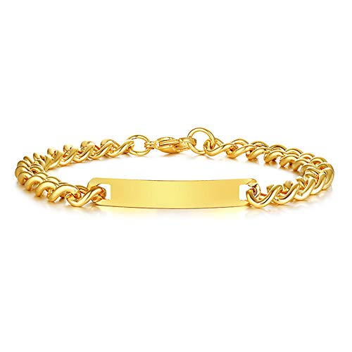 GAGAFEEL Custom Bracelet Engraved Name Date Personalized Wrist Link for Women Men Titanium Stainless Steel Cuff Couple Friends Gift (Gold-Width 7mm)