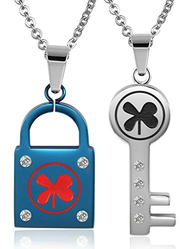 el Necklaces, Women's Men's Chain Pendant CZ Key Four-Leaf Clover Blue Silver ()