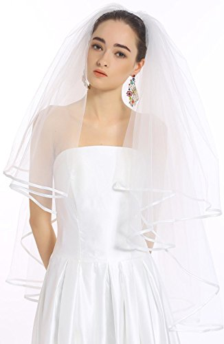 "Passat 2 Tier 1/4"" Ribbon Edge Bridal Wedding Veil with Comb H75 (160CM, Ivory)"