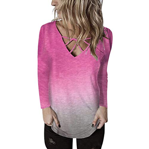 Xinantime Womens Gradient T Shirt Long Sleeve Knot Shirts Front Cross Tunic Loose Blouse Tops ()
