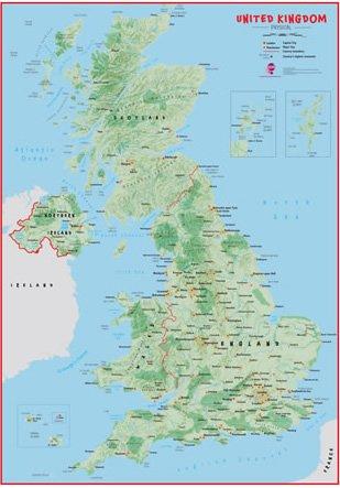 Cartina Fisica Del Regno Unito.Bambini Regno Unito Mappa Fisica Laminato Amazon It Casa