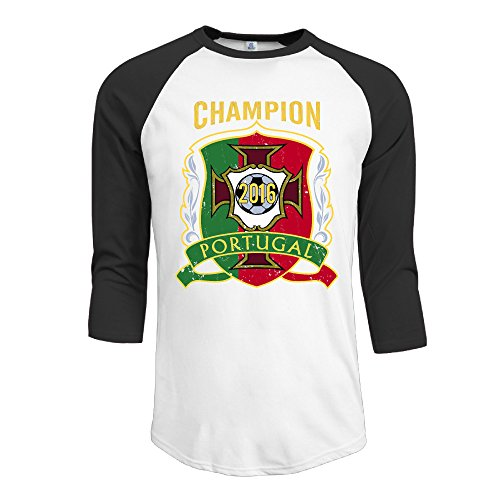Baseball Euro 2016 Champion Portugal Vintage Men 3/4 Sleeve Raglan Tee Black Medium
