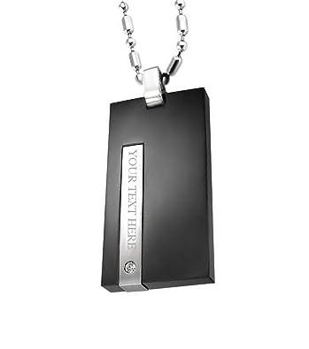 af000cf3397 Personalized Men Necklace Dog Tag Pendant Black Stainless Steel ...