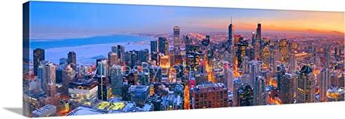 CANVAS Chicago Skyline DUSK 11 inches x 34 inches COLOR Hancock City Downtown Photographic Panorama Print Picture