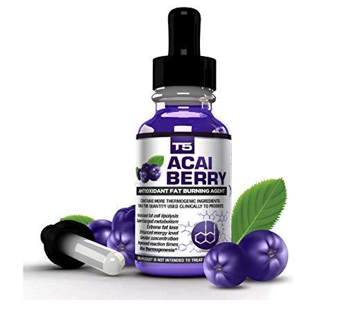T5 Acai Berry Serum: Maximum Strength Antioxidant Fat Burner – Fast Acting Weight Loss & Detox (1 Month Supply)