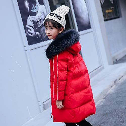 FDSAD Warme Jacke Im Freien Kinder Outdoor Warme Jacke Mädchen Langen Abschnitt Neue Kinderbekleidung Mädchen Wintermantel Geeignet Für Höhe 120Cm Rot
