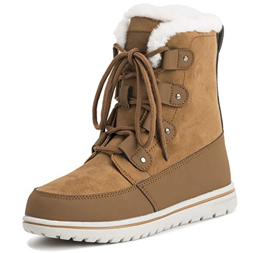 (Polar Womens Quilted Short Faux Fur Snow Waterproof Winter Durable Warm Boots - 10 - TAN41 AYC0522)