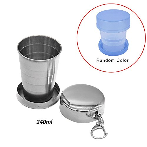 Travel Stainless Steel Collapsible Cup 240ML with Metal Telescopic Keychain ,With Plastic Collapsible Cups,BPA-Free Silicone,Portable Foldable,Water,Coffee,Tea, Snacks for Hiking,Camping,Picnic