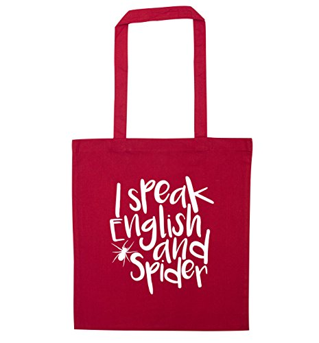 I speak English and spider tote bag Red