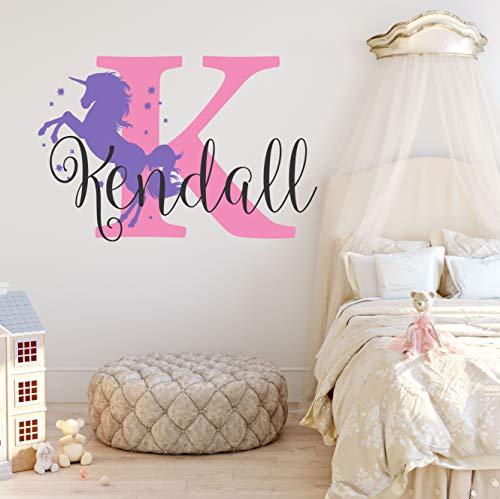 Nursery Unicorn Name and Initial Custom Wall Decal Sticker, Girl Wall Decal, Girls Name, Decor, Personalized, Girls Name Decor, Girls Nursery, Plus Free White Hello Door Decal (M)