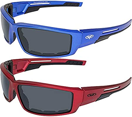 2 Pair Sly Padded Motorcycle Riding Sunglasses Smoke Lenses Red and Blue Frames