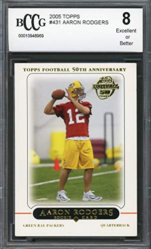 N RODGERS packers rookie card (50-50 CENTERED) BGS BCCG 8 Graded Card ()