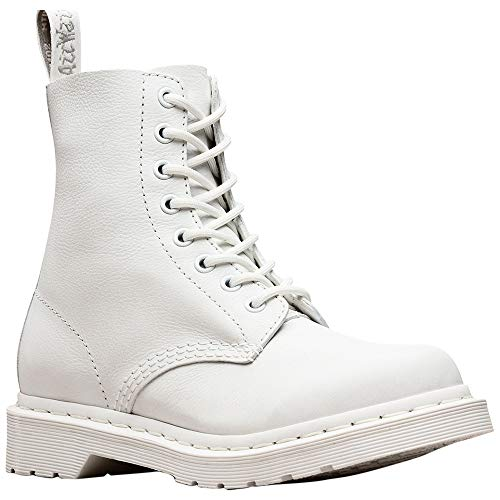 Martens Womens Leather - Dr. Martens Women's Pascal Leather Combat Boot (6 M UK, White Virginia Mono)