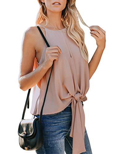 ea5c7f02c8333 Topstype Women s Summer Sleeveless Crew Neck Tank Tops Camis Front Tie Knot Casual  Shirt Keyhole Front
