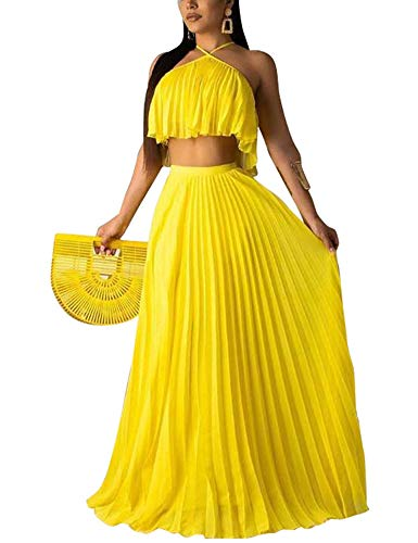 (Crop Top Maxi Skirt Set Sexy Summer Beach Pleated 2 Piece Outfit Dress Yellow S)