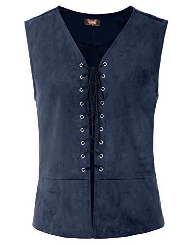 SCARLET DARKNESS Mens Vest Waistcoat Gothic Steampunk Renaissance Tailcoat Navy Blue M