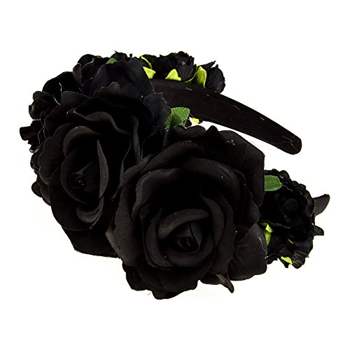 - DreamLily Day of The Dead Headband Costume Rose Flower Crown Mexican Headpiece BC40 (Two Black Rose)