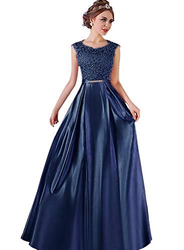 Satin A-line Scoop Floor - Dressytailor A-line Scoop Neck Satin Floor-Length Fabulous Appliques Lace Prom Dress Navy