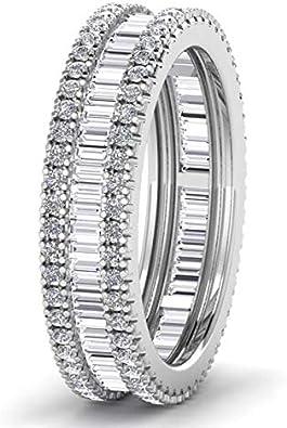 Anillo de boda de 1,20 quilates, con diamantes redondos y de corte baguette en platino 950, con sello de Assay Office London