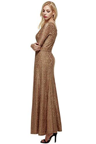 Donna abito sera Marrone cooshional lungo cocktail vestito da elgante Tdfqzw
