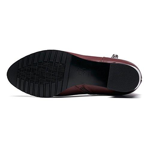 Nio Sju Äkta Läder Womens Spetsig Tå Chunky Häl Grundläggande Handgjorda Trendiga Boots Ny Bourgogne
