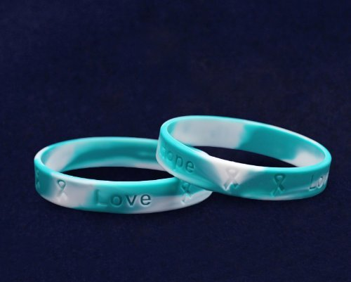 Fundraising For A Cause 50 Pack Teal & White Awareness Silicone Bracelets (Wholesale Pack - 50 Bracelets) by Fundraising For A Cause (Image #2)