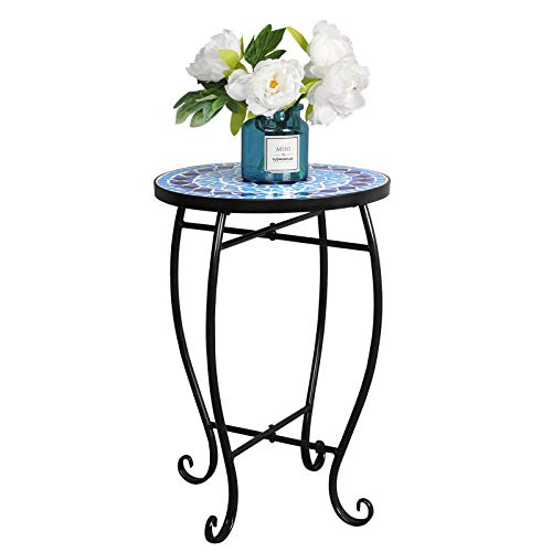 - HomGarden Patio Side Table Accent Tables Plant Stand Porch Balcony Garden Mosaic Tablejust Decor Outdoor Small Coffee Table