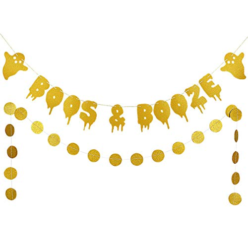 Gold Glittery Boos & Booze Banner and Gold Glittery Circle Dots Garland(25pcs Circle Dots) Halloween Party Home Decor Decoration Supplies ()
