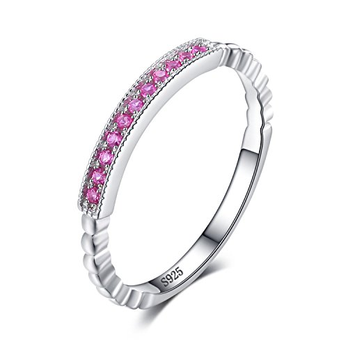 JewelryPalace 925 Sterling Silver Created Pink Sapphire Rope Band Stackable Ring Size 9
