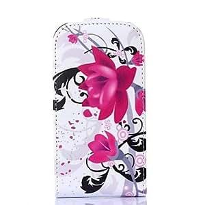 patrón de flores púrpura de la PU de cuero Flip-Open caso de cuerpo completo para Samsung Galaxy Lite tendencia s7390 / s7392