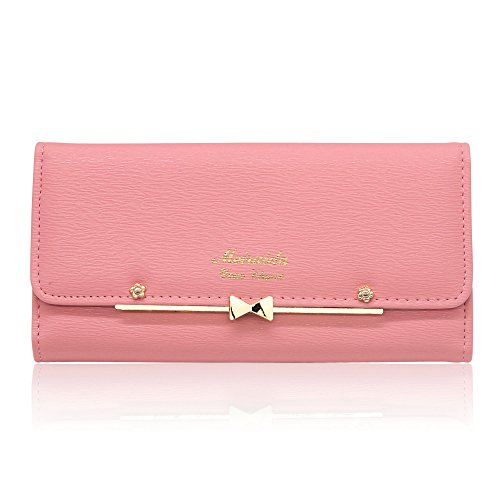 Woolala Women Cute Bowknot Wallet Trifold Large Capacity Long Purse, Pink by Woolala