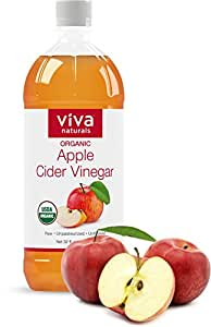 Viva Naturals Unfiltered Undiluted Non-GMO Organic Apple Cider Vinegar with the Mother, 32 oz