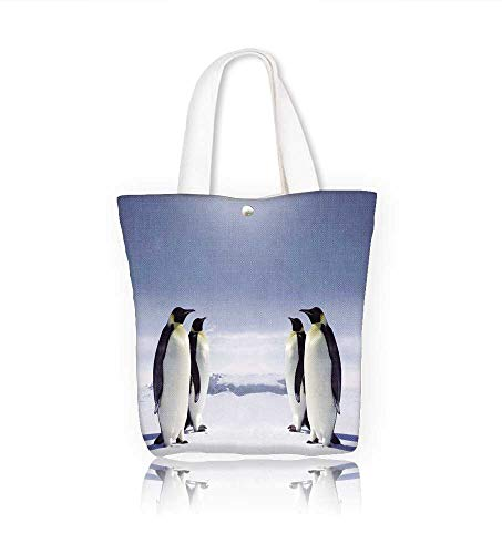 Canvas Tote Bag Two pairs of penguins facing each other at the South pole Hanbag Women Shoulder Bag Fashion Tote Ba W14xH15.7xD4.7 INCH
