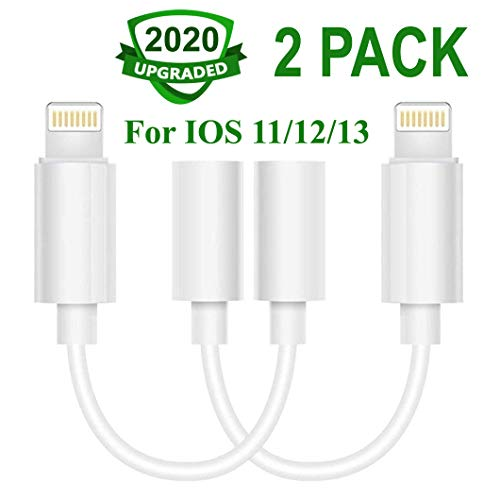 Lighting to 3.5 mm Headphone Adapter Earphone Earbuds Adapter Jack 2 Pack,Easy and Convenient,Compatible with Apple iPhone 11 Pro Max X/XS/Max/XR 7/8/8 Plus Plug and Play Repair Kits