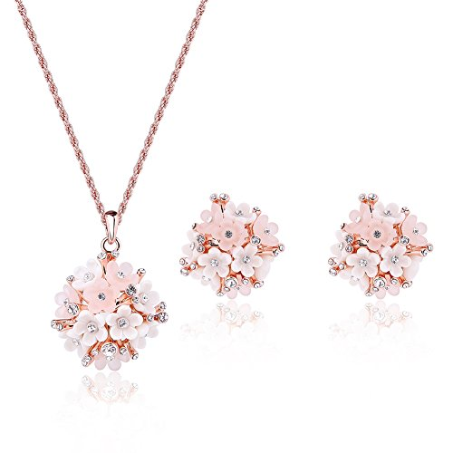POKICH Rose Gold-Tone Pink Flower Stud Earring and Pendant Necklace Set Costume Fashion Jewelry Set for Women