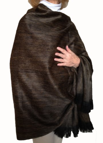 Super Soft Baby Alpaca Wool Reversible Shawl Wrap Cape Muted Ochre ()
